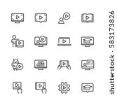 tutorial related vector icon... | Shutterstock .eps vector #583173826