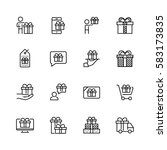 gifts related vector icon set... | Shutterstock .eps vector #583173835