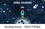 vector flat cosmos design... | Shutterstock .eps vector #583174582