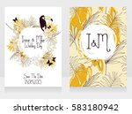 wedding cards with tropical... | Shutterstock .eps vector #583180942