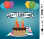 31th birthday cake and...   Shutterstock .eps vector #583182262