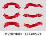 vector red ribbons.ribbon... | Shutterstock .eps vector #583189105