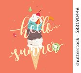 hello summer icecream cone... | Shutterstock .eps vector #583190446