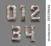 3d rendered font set with wood... | Shutterstock . vector #583198666