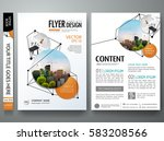 Portfolio design template vector. Minimal brochure report business flyers magazine  poster. Abstract black point and line network shape on cover book presentation. City concept in A4 size layout. | Shutterstock vector #583208566