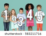 little kids holding number smile | Shutterstock . vector #583211716