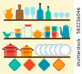 shelves with dishes  vector... | Shutterstock .eps vector #583236046