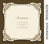 vintage gold frame with floral... | Shutterstock .eps vector #583236256