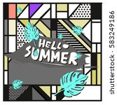 trendy vector summer cards...   Shutterstock .eps vector #583249186