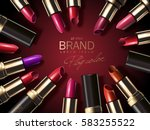 fashion lipstick ads  colorful... | Shutterstock .eps vector #583255522