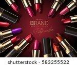 fashion lipstick ads  colorful... | Shutterstock .eps vector #583255522