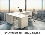 office workplace with blank... | Shutterstock . vector #583258366