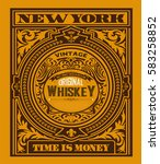 old  label design for whiskey... | Shutterstock .eps vector #583258852