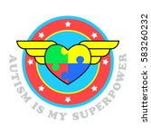 autism is my superpower. world... | Shutterstock .eps vector #583260232