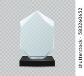 glass transparent trophy award. | Shutterstock .eps vector #583260652