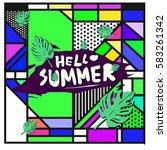 trendy vector summer cards...   Shutterstock .eps vector #583261342
