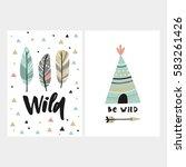 cute print in boho style.  | Shutterstock .eps vector #583261426