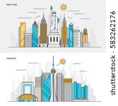 set of flat line color banners... | Shutterstock .eps vector #583262176