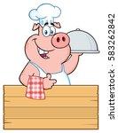 happy chef pig cartoon mascot... | Shutterstock . vector #583262842