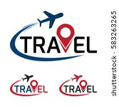 travel logo that have a plane... | Shutterstock .eps vector #583263265