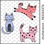 Stock vector cute cats 583263376