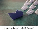 origami paper ship with small... | Shutterstock . vector #583266562