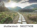 sunset in the woods corridor   Shutterstock . vector #583277458