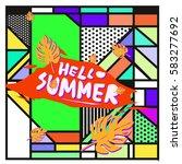 trendy vector summer cards...   Shutterstock .eps vector #583277692