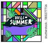 trendy vector summer cards...   Shutterstock .eps vector #583277716