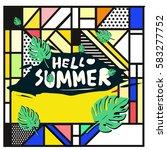 trendy vector summer cards...   Shutterstock .eps vector #583277752