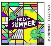 trendy vector summer cards...   Shutterstock .eps vector #583277806