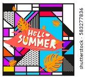 trendy vector summer cards...   Shutterstock .eps vector #583277836