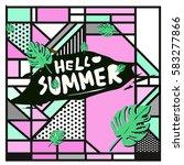 trendy vector summer cards...   Shutterstock .eps vector #583277866