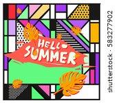 trendy vector summer cards...   Shutterstock .eps vector #583277902