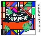 trendy vector summer cards...   Shutterstock .eps vector #583277926