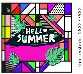 trendy vector summer cards...   Shutterstock .eps vector #583277932