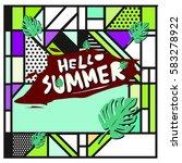 trendy vector summer cards...   Shutterstock .eps vector #583278922