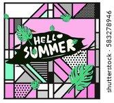 trendy vector summer cards...   Shutterstock .eps vector #583278946