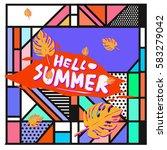 trendy vector summer cards...   Shutterstock .eps vector #583279042