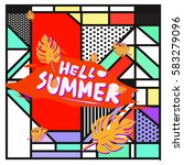 trendy vector summer cards...   Shutterstock .eps vector #583279096