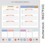 cute calendar daily planner... | Shutterstock .eps vector #583279102