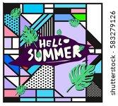 trendy vector summer cards...   Shutterstock .eps vector #583279126
