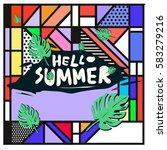trendy vector summer cards...   Shutterstock .eps vector #583279216