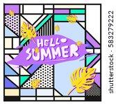 trendy vector summer cards...   Shutterstock .eps vector #583279222