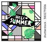 trendy vector summer cards...   Shutterstock .eps vector #583279306