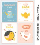 collection of easter greeting... | Shutterstock .eps vector #583279462