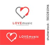 love music logo vector with... | Shutterstock .eps vector #583281046