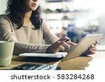 close up of hands of a woman... | Shutterstock . vector #583284268