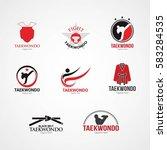 set of taekwondo  logo design... | Shutterstock .eps vector #583284535