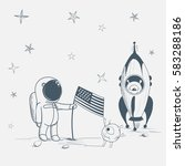 astronaut with aliens on the... | Shutterstock .eps vector #583288186